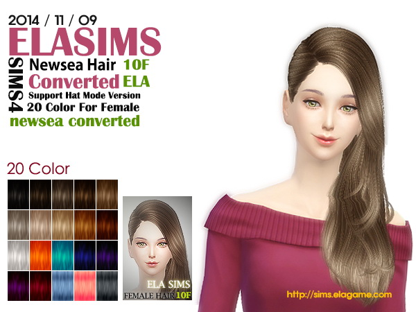 MAY Sims: Newsea`s hairstyle 10 F converted by ELA for Sims 4