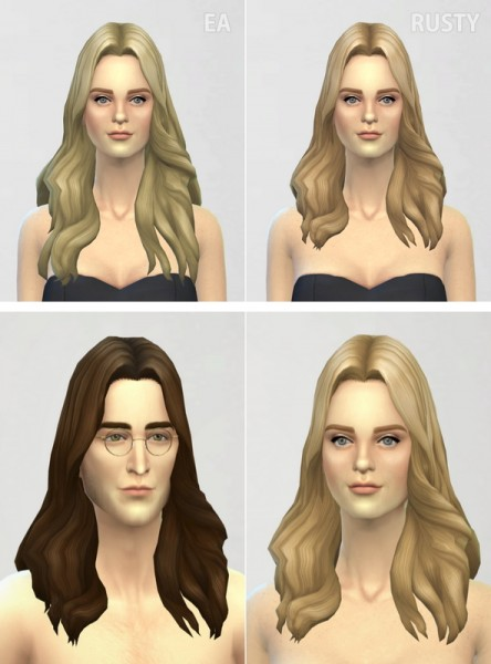 Rusty Nail: Long Wavy parted 001 hairstyle retextured for Sims 4