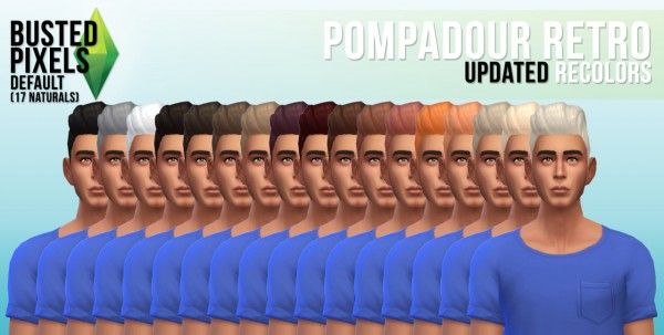 Busted Pixels: Pompadour retro hairstyle for Sims 4