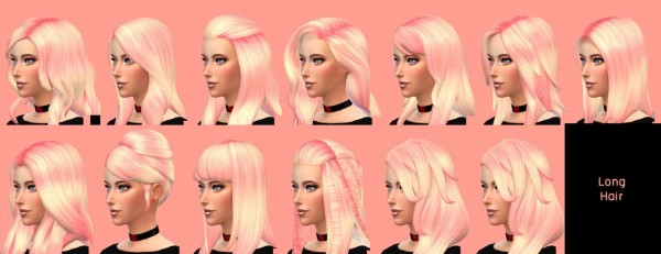 MoraThami Simblr: Pinky Peach Hairstyle Set retextured for Sims 4