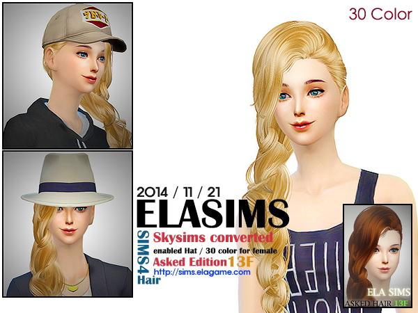 MAY Sims: Skysims 13F asked hairstyle converted by ELA for Sims 4