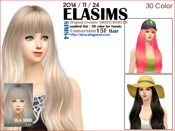 MAY Sims: Nightcrawler`s 15F hairstyle converted by ELA for Sims 4