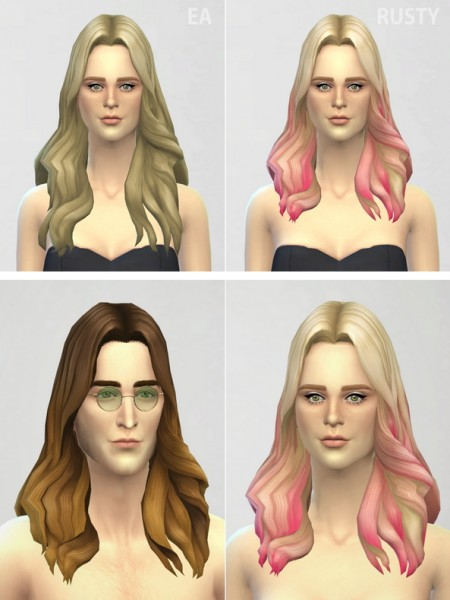 Rusty Nail: Long Wavy parted 001 ombre hairstyle retextured for Sims 4