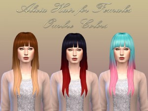 NotEgain: Alicia Hairstyle Ombre Colors for Sims 4