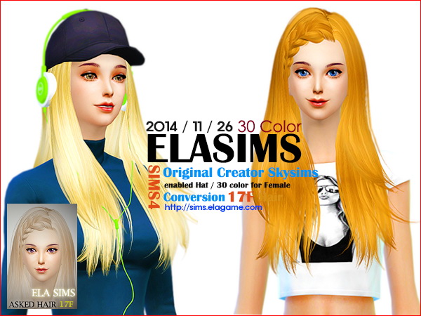 MAY Sims: Skysims hairstyle 17F converted by ELA for Sims 4