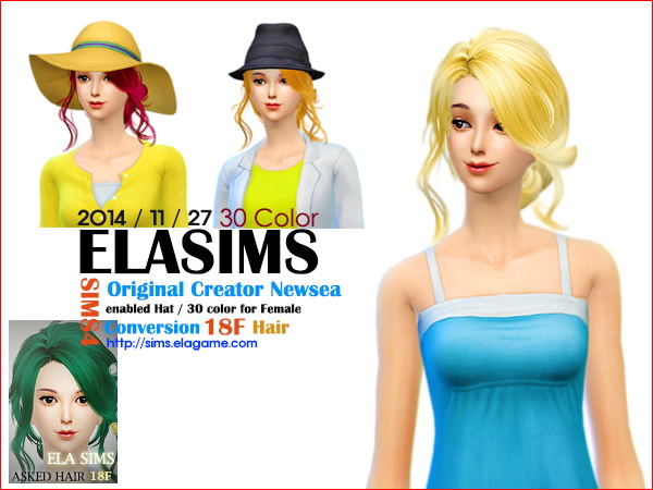 MAY Sims: Newsea`s hairstyle 18F converted by ELA for Sims 4