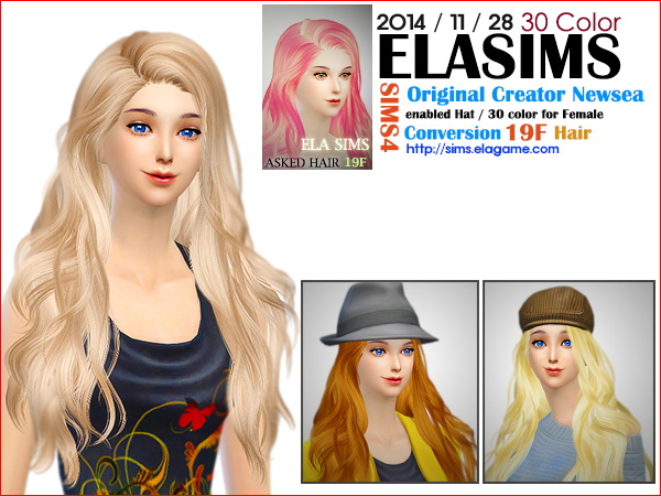 select a Website   : Newsea`s hairstyle 19F converted by ELA for Sims 4