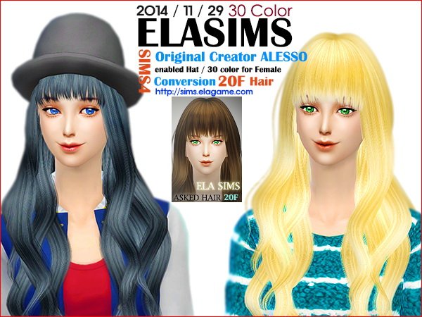 MAY Sims: Alesso`s hairstyle 20F converted by ELA for Sims 4