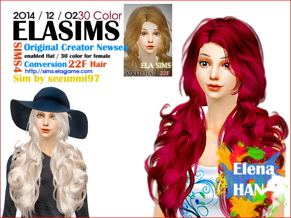 MAY Sims: Newsea`s hairstyle 22F converted by ELA for Sims 4