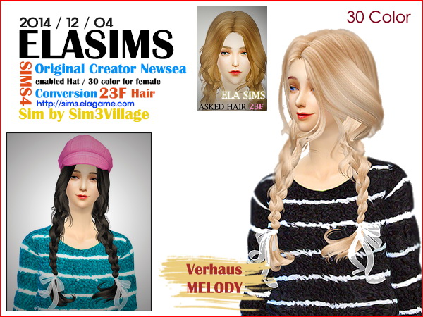 MAY Sims: Newsea`s asked hairstyle 23F converted by ELA for Sims 4