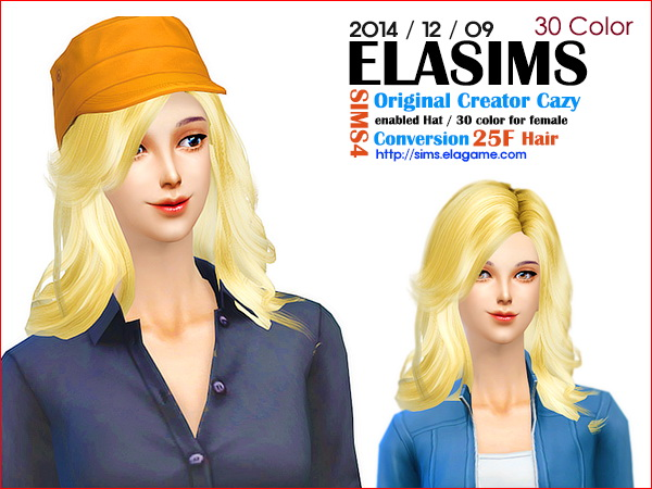 MAY Sims: Cazy`s asked hairstyle 25F converted by ELA for Sims 4