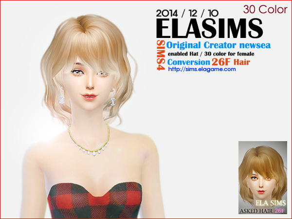 MAY Sims: Newsea`s 26F hairstyle converted by ELA for Sims 4