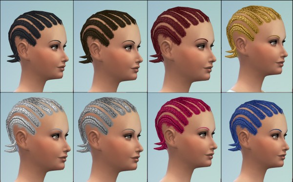 Mod The Sims: Short cornrows hairstyle by necrodog for Sims 4