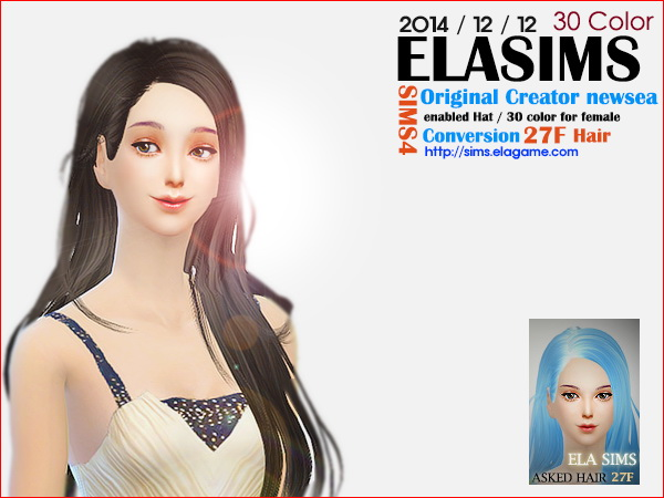 MAY Sims: Newsea`s 27F hairstyle converted by ELA for Sims 4
