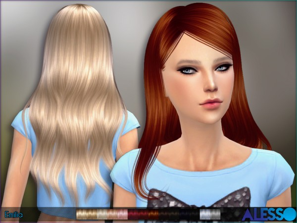 The Sims Resource: Emilia hairstyle by Alesso for Sims 4