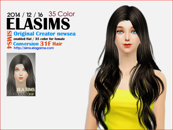 MAY Sims: Newsea`s 31F hairstyle converted by ELA for Sims 4