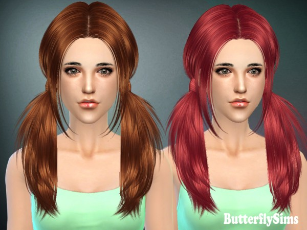 Butterflysims: Two ponytails hairstyle 068 for Sims 4