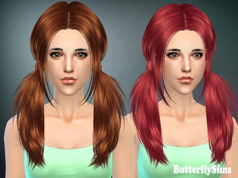 Sims 4 Hairs ~ Butterflysims: Two ponytails hairstyle 068