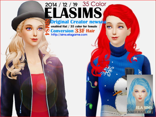 MAY Sims: Newsea`s asked hairstyle 33F converted by ELA for Sims 4