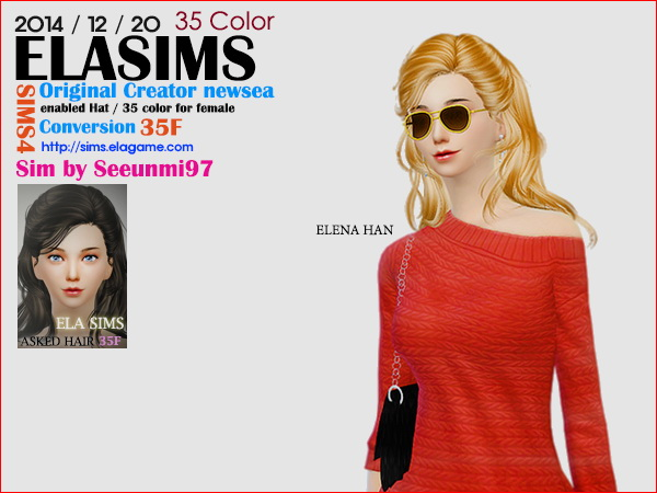 MAY Sims: Newsea`s hairstyle 35F converted by ELA for Sims 4