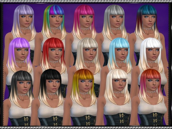The Sims Resource: Color Vibe hairstyle with blonde tips by SrslySims for Sims 4