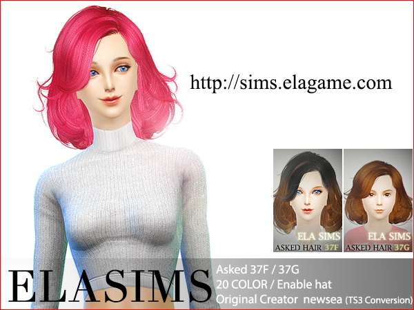 MAY Sims: Asked hairstyle 37F / 37G converted by ELA for Sims 4
