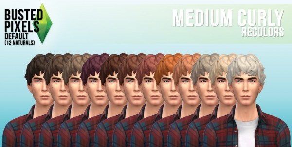 Busted Pixels: Medium curly hairstyle recolor for Sims 4