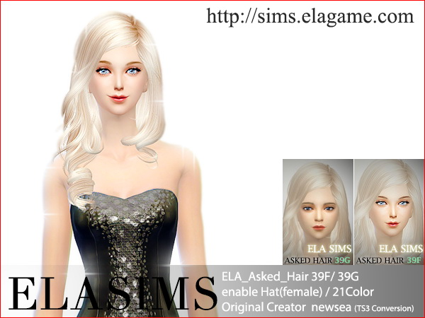 MAY Sims: Asked hairstyle 39F/39G converted by ELA for Sims 4