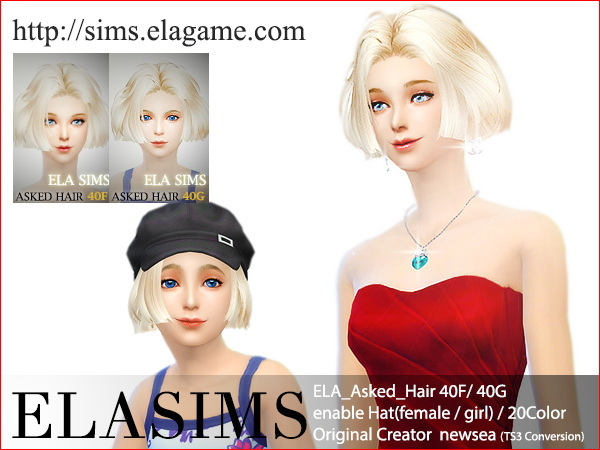 MAY Sims: Hairstyle asked 40F / 40G converted by ELA for Sims 4
