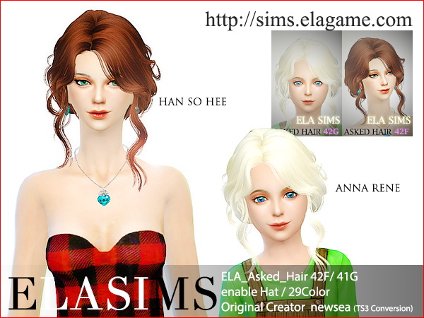 MAY Sims: Asked hairstyle 42F / 42G converted by ELA for Sims 4