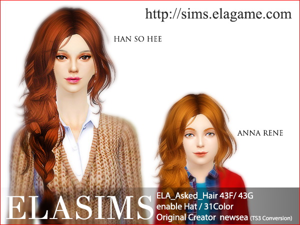 MAY Sims: Asked hairstyle 43F / 43G converted by ELA for Sims 4