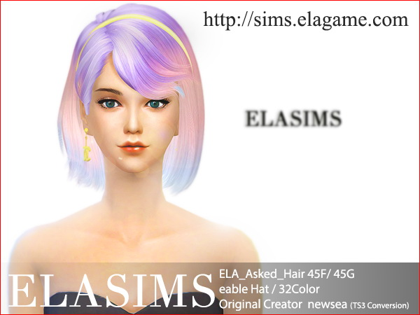 MAY Sims: Asked 46F / 46G hairstyle converted by ELA for Sims 4
