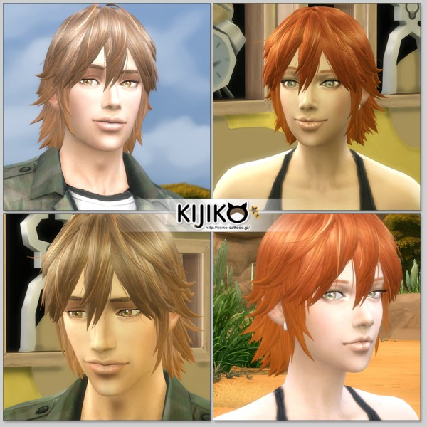 Kijiko Sims: Spiky Layered hairstyle for her for Sims 4