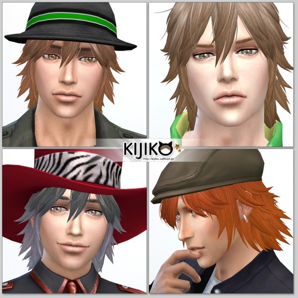 Kijiko Sims: Spiky Layered hairstyle for him for Sims 4