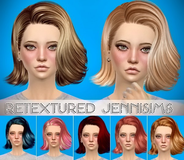 Jenni Sims: Butterfly`s 090,086 hairstyle retextured for Sims 4