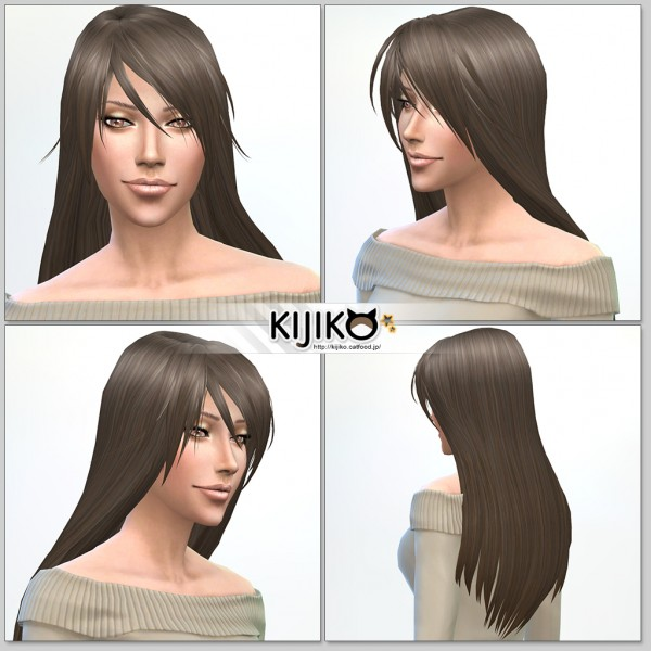 Kijiko Sims: Long Straight hairstyle for her for Sims 4