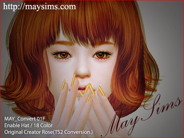 MAY Sims: Hairstyle 01F converted by ELA for Sims 4
