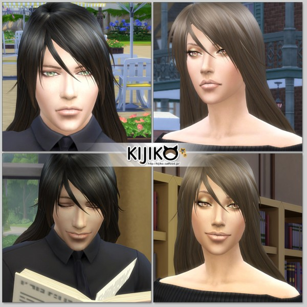 Kijiko Sims: Long Straight hairstyle for him for Sims 4
