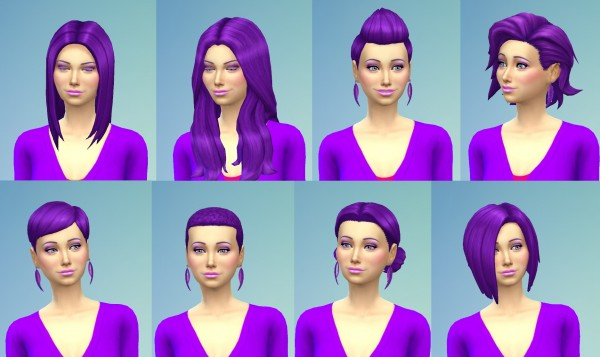 Mod The Sims Recoloured Purple Hairstyle Set By