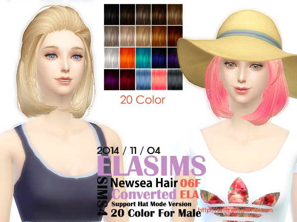 MAY Sims: Newsea`s hairstyle 06F converted by ELA for Sims 4