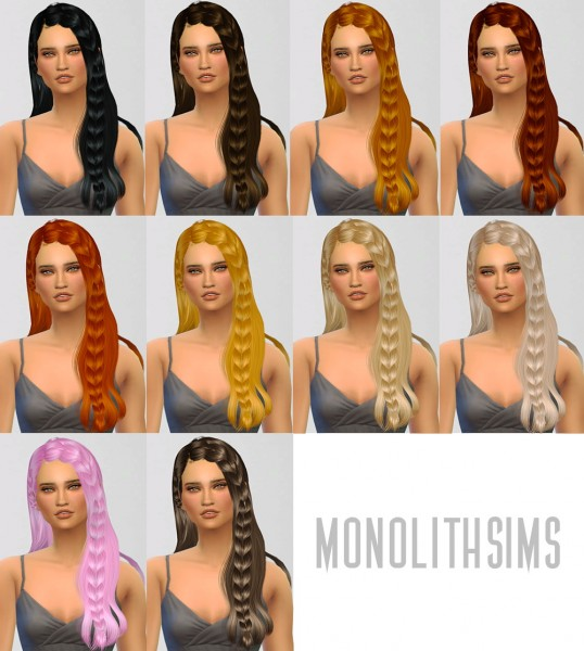Monolith Sims: Newsea`s 180 hairstyle retextured for Sims 4