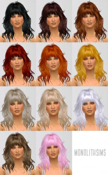 Monolith Sims: Newsea`s J071 hairstyle retextured for Sims 4