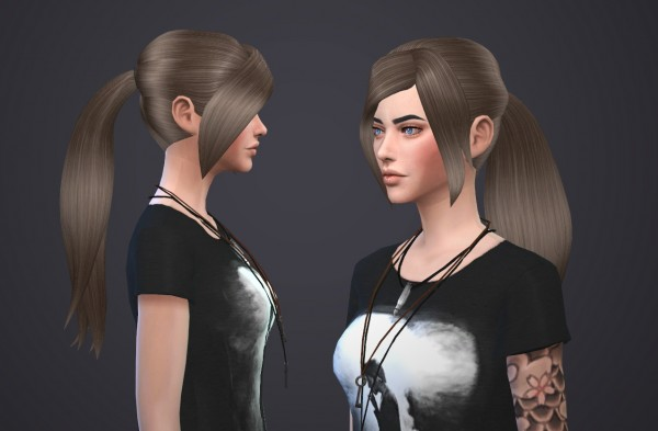 Salem2342: David Sims Ponytail hairstyle retextured for Sims 4