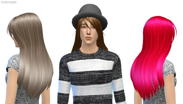 Nessa sims: Kijiko Oncilla hairstyle retextured for Sims 4