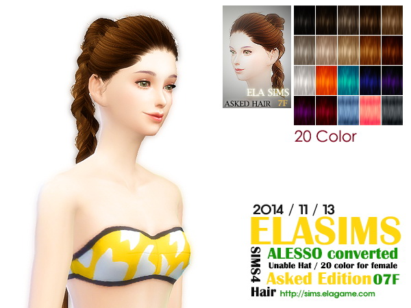 MAY Sims: Alesso`s 07F hairstyle converted by ELA for Sims 4