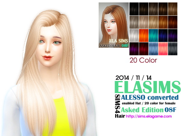MAY Sims: Alesso`s hairstyle 08F converted by ELA for Sims 4