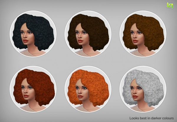 Lumia Lover Sims: Afro hairstyle retextured in 6 colors for Sims 4