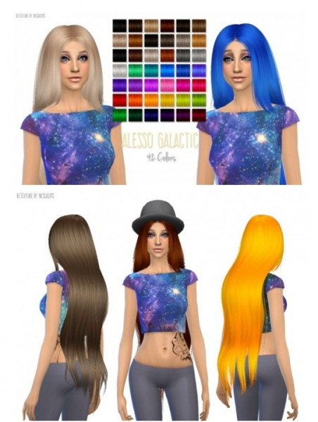 Nessa sims: Alesso`s Galactic hairstyle retextured for Sims 4