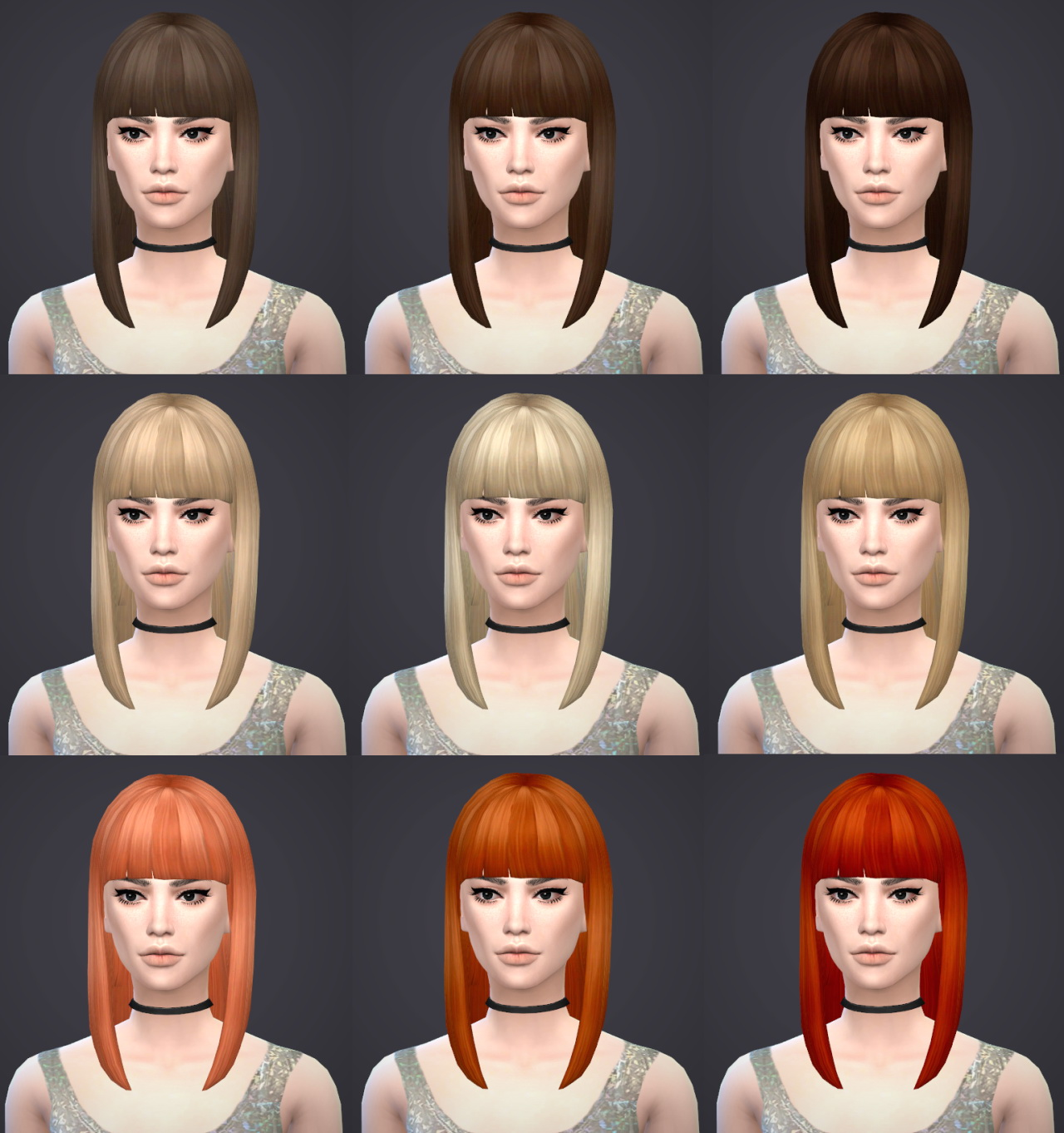 Sims 4 Hairs Salem2342 Mid Straight Bangs Hairstyle