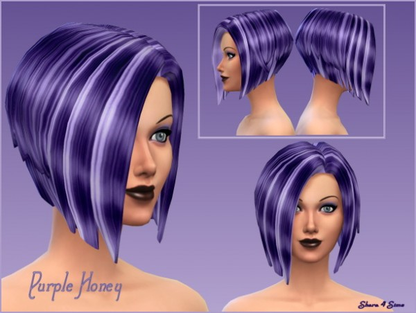 Shara 4 Sims: Purple Honey Hairstyle recolored for Sims 4
